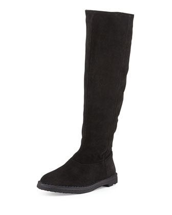 Sadler Shearling-Lined Knee Boot, Black