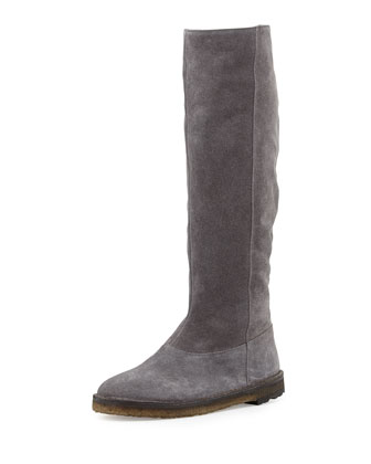 Sadler Shearling-Lined Knee Boot, Graphite
