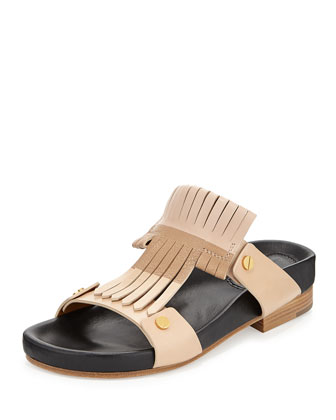 Leather Fringe Slide, Nude