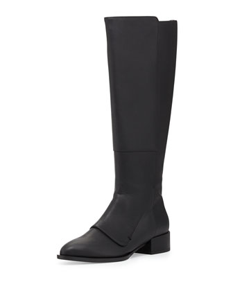Yilan Point-Toe Leather Knee Boot, Black