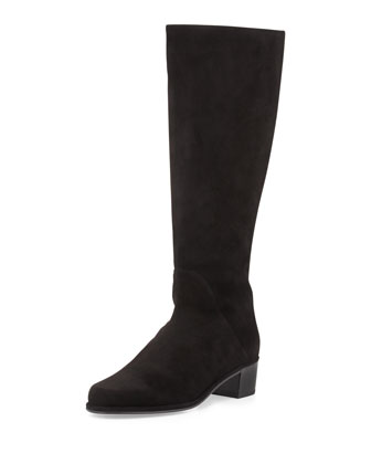 Easyzip Suede Knee Boot, Black