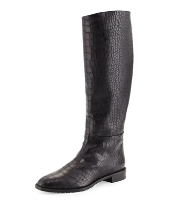 Equine Croc-Embossed Knee Boot, Nero