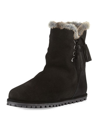 Fargo Faux-Fur-Lined Bootie, Black