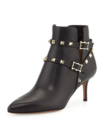 Rockstud Leather Ankle Bootie, Nero