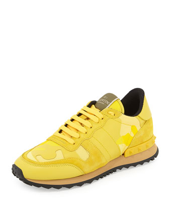 Camouflage Rockstud Sneaker, Naples Yellow