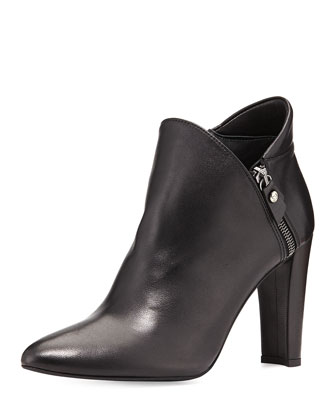 Zipup Leather Ankle Bootie, Black