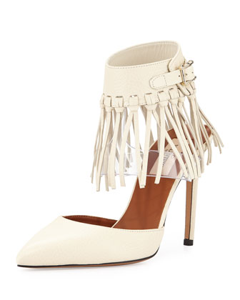 Illusion Fringe Ankle-Wrap Pump, Ivory