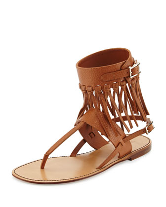 Illusion Fringe Ankle-Wrap Thong Sandal, Light Cuir