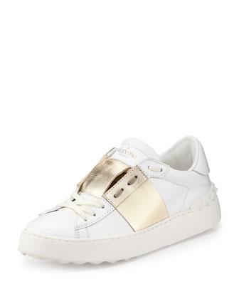 Metallic-Band Leather Sneaker, Bianco/Platinum