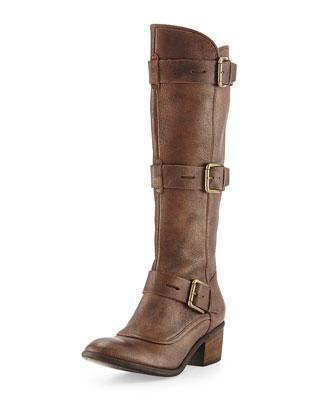 Dax Triple-Buckle Metallic Knee Boot, Gold