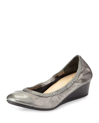 Milly Metallic Wedge Pump, Dark Silver