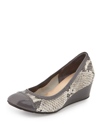Milly Snake-Embossed Wedge Pump