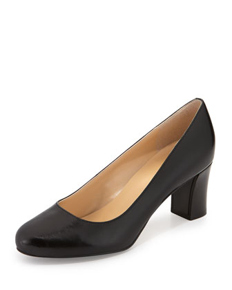 Edie Leather Mid-Heel Pump, Black