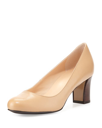 Edie Leather Mid-Heel Pump, Sandstone