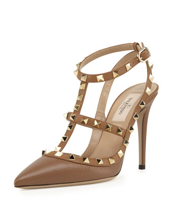 Rockstud Leather Sandal, Deep Cuir