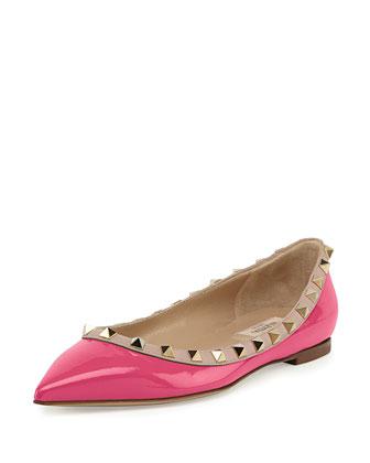 Rockstud Trim Patent Ballerina Flat, Ninphea/Poudre