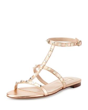 Rockstud Ankle-Strap Flat Sandal, Metal Rose