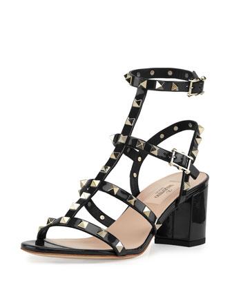 Rockstud Chunky-Heel Sandal, Black