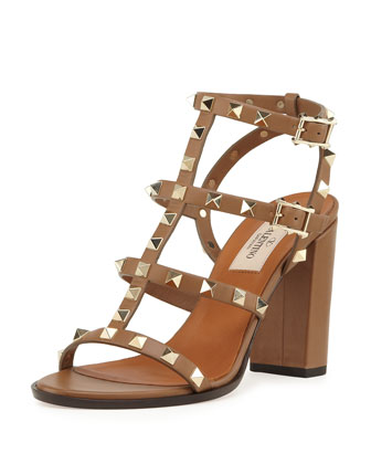 Rockstud Leather Cage Sandal, Deep Cuir