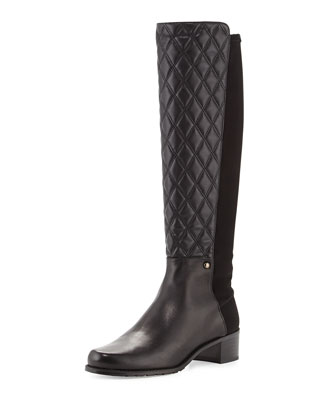Guard Quilted Leather Knee Boot, Black