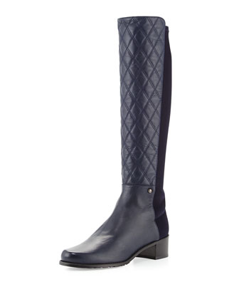 Guard Quilted Leather Knee Boot, Navy
