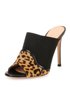 Leopard/Leather Mule