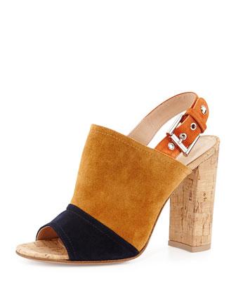 Colorblock Suede & Cork Slingback Sandal