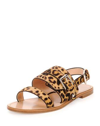 Double-Band Leopard-Print Flat Sandal