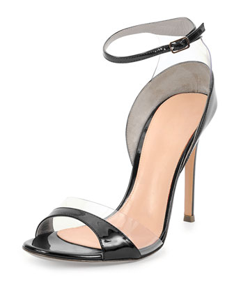 Leather/Vinyl Ankle-Wrap Sandal