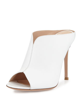 Leather Open-Toe Mule Pump, White
