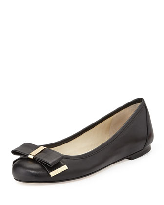 Kiera Leather Bow Ballet Flat, Black
