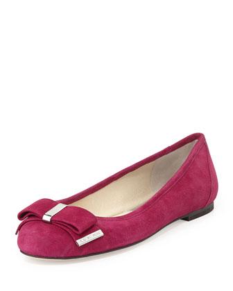 Kiera Suede Bow Ballet Flat, Deep Pink