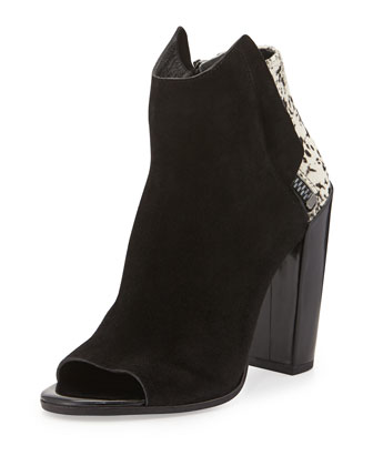 Laine Open-Toe Suede & Calf Hair Bootie, White/Black