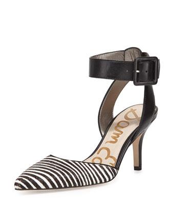 Okala Zebra-Print Ankle-Wrap Pump