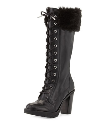 Kim Lace-Up Faux-Fur Boot
