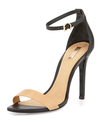 Schutz Caydee Lee Stiletto Sandal, Black/Nude