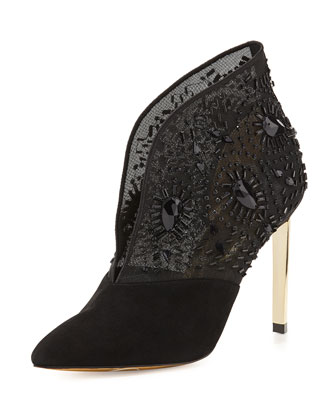 Fausabia Embellished Mesh Bootie
