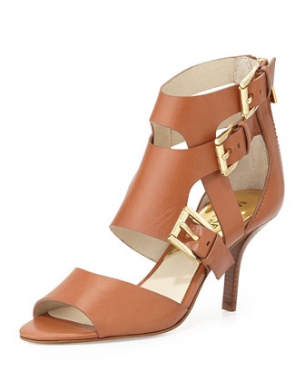 Lucinda Open-Toe Vachetta Sandal, Luggage