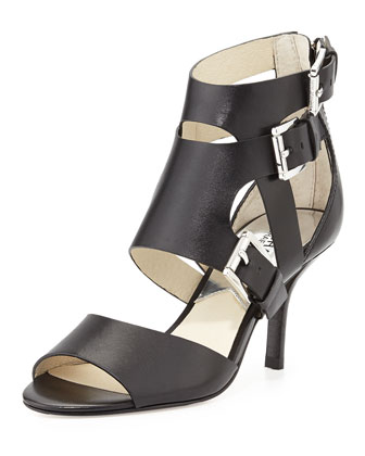 Lucinda Open-Toe Vachetta Sandal, Black