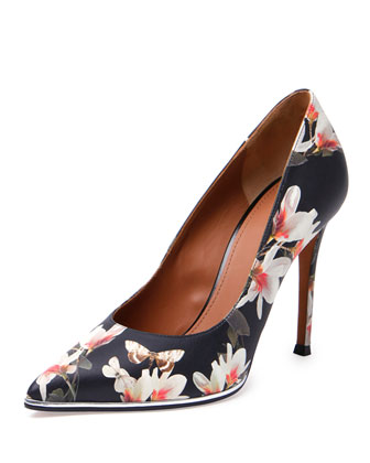 Floral-Print Leather Point-Toe Pump