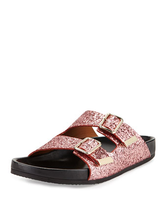 Swiss Glitter Double-Buckle Sandal, Pink