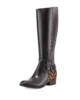 Mamie Mixed-Media Knee Boot, Black