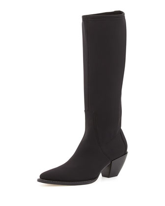 Soni Crepe Knee Boot, Black