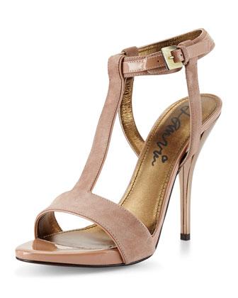 Suede T-Strap Sandal, Beige