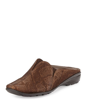 Hella Snake-Embossed Mule Slide, Moro Brown