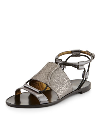 Metallic Cord Flat Sandal, Silver