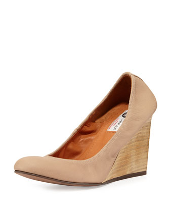 Leather Ballerina Wedge Pump, Beige