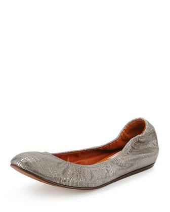 Lizard-Embossed Ballerina Flat, Silver