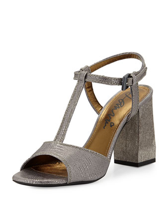 Metallic Printed Leather Sandal, Silver