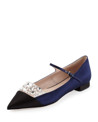 Jewel-Embellished Satin Ballerina Flat, Nero/Baltico